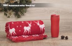 """Набор подарочный Новый год: термостакан """"Монтана"""" с покрытием soft touch и плед """"Новый год"""", красный фото"""