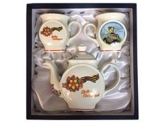 Подарочный набор Победители: чайник и чашки, белый фото