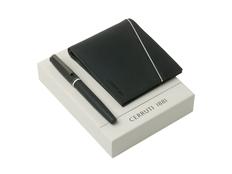 Подарочный набор: портмоне, ручка роллер, чёрный фото