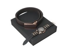 Подарочный набор Seal: ремень, хронограф, чёрно-коричневый фото