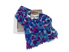 Подарочный набор Tourbillon: шарф, часы наручные, синий/белый фото