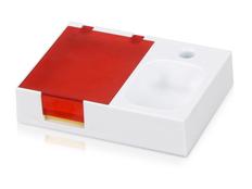 Подставка под ручку и скрепки с бумажным блоком, белый, красный фото