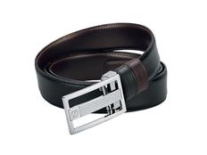 Ремень S.T. Dupont Business Chic, декорированная пряжка, черный, коричневый фото