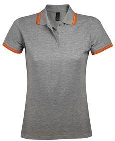 Рубашка поло женская Sol's Pasadena Women 200, серый меланж/оранжевая фото