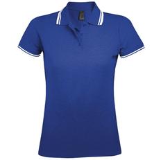 Рубашка поло женская Sol's Pasadena Women 200, синяя/белая фото