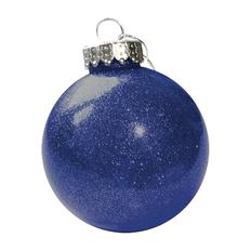 Шар новогодний FLICKER, диаметр 8 см, пластик, синий фото