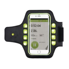 Спортивный чехол для телефона на руку с LED подсветкой, черный фото