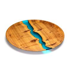 Тарелка из дуба и эпоксидной смолы, коричневая фото