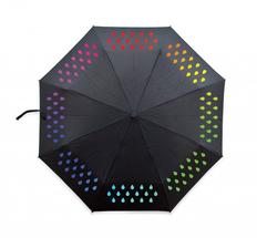 Зонт складной механический меняющий цвет, черный фото