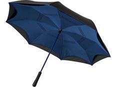 Зонт-трость Avenue Yoon с обратным сложением, чёрный/синий фото