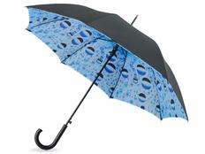Зонт трость с рисунком двухстороннй полуавтомат Капли воды, черный / голубой фото