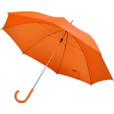 Зонт трость механический с изогнутой пластиковой ручкой, оранжевый фото