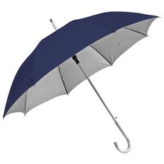Зонт трость полуавтомат Silver с изогнутой пластиковой ручкой, двухслойный, темно-синий/ серый фото