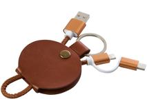 Кабель для зарядки Gist 3 в 1, коричневый фото
