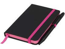 Блокнот А6 Noir Edge, черный с розовым фото