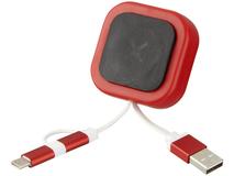 Магнитный держатель для телефона Chariot с кабелем 3-в-1, красный фото