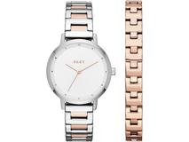 Подарочный набор: часы наручные женские, браслет, белый/ золотой, серебряный/серый фото