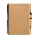 Блокнот на пружине с авторучкой B5, 70 страниц, крафт/черный фото