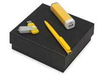 Подарочный набор On-the-go с флешкой, ручкой и зарядным устройством, жёлтый фото