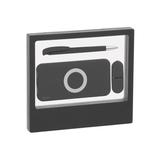 """Набор подарочный """"Камень"""" на 3 предмета (ручка, флешка 16 Гб, аккумулятор 8000 mAh), черный фото"""