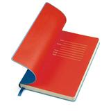 Бизнес-блокнот Funky, 130*210 мм, синий, красный форзац, мягкая обложка, блок-линейка фото