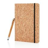 Блокнот на резинке и шариковой ручкой-стилусом, Cork А5, 80стр, древесный/черный фото