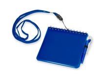 Блокнот с авторучкой на ремешке, 115х115мм, 60 страниц, синий фото