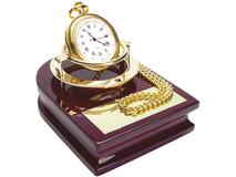 Часы Магистр на деревянной подставке с цепочкой, золотой, красный фото