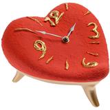 Часы Сердце, красно-золотые фото