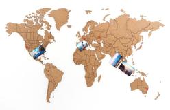 Деревянная карта мира World Map True Puzzle Small, коричневая фото