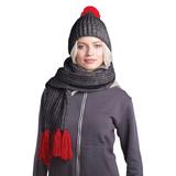 GoSnow, вязаный комплект шарф и шапка, антрацит c фурнитурой красный фото