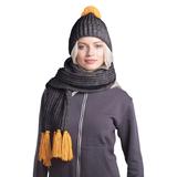 GoSnow, вязаный комплект шарф и шапка, антрацит c фурнитурой золотой фото