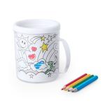 Кружка для раскрашивания с цветными карандашами (4шт) FESIENT, белый фото
