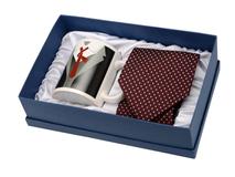Набор: чашка и галстук Утро джентльмена, черный, белый, бордовый фото