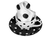 Набор: чашка и платок Утро дамы, черный, белый фото
