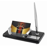 Набор настольный Статус: подставка для визиток и авторучка, черный, серый фото