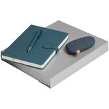 Набор Riverside (ежедневник, аккумулятор, ручка), синий фото