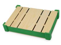 Подарочная деревянная коробка, коричневый/ зелёный фото