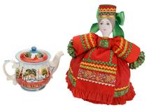 Подарочный набор Кремлевский: кукла на чайник, чайник заварной с росписью (красный с узором) фото