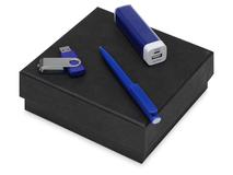 Подарочный набор On-the-go с флешкой, ручкой и зарядным устройством, синий фото
