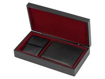 Подарочный набор: портмоне, ключница (кожа, цвет черный) фото