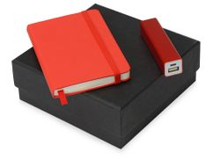 Подарочный набор To go с блокнотом А6 и зарядным устройством, красный фото