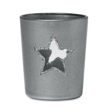 Подсвечник со свечой, серебряный/серый фото