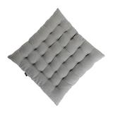 Стеганная подушка на стул из умягченного льна серого цвета фото