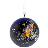 Свеча ручной работы «Ночной город», в форме шара фото