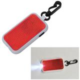Светоотражатель на карабине с фонариком, красный, красный фото