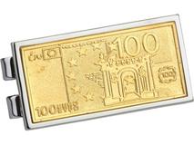 Зажим для денег Сто евро, серый, золотой фото