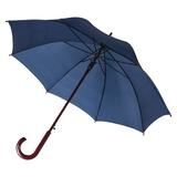 Зонт трость полуавтомат с изогнутой деревянной ручкой Unit Standard, темно-синий фото