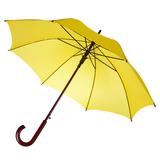 Зонт трость полуавтомат с изогнутой деревянной ручкой Unit Standard, желтый фото