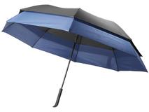 Зонт трость противоштормовой полуавтомат двойной купол, черный /ярко-синий фото